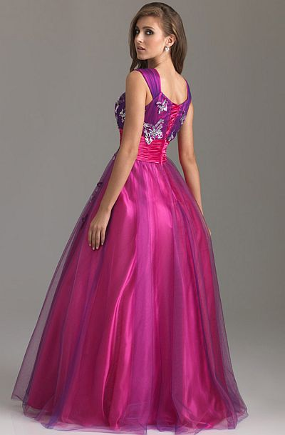 Night Moves Modest Prom Dress with Colored Butterflies 6577M ...