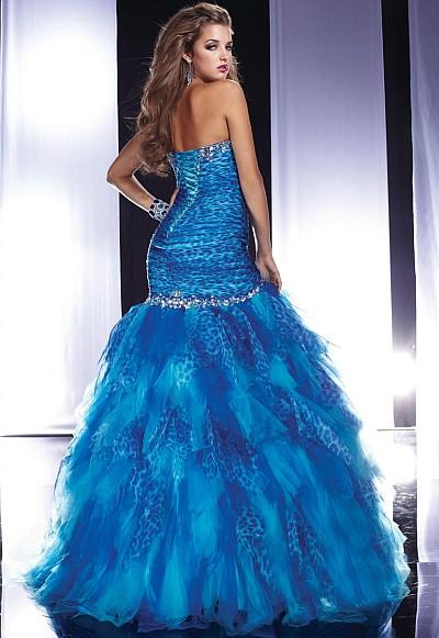 Panoply Turquoise Cheetah Print Chiffon Prom Dress 14460: French ...