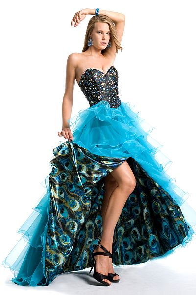 Party Time Peacock Print Organza Ruffle Prom Dress 6707: French ...