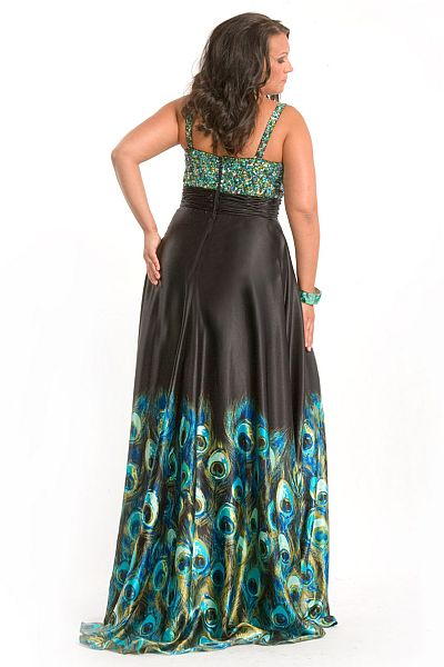 Party Time Plus Size Peacock Print Prom Dress 6810: French Novelty