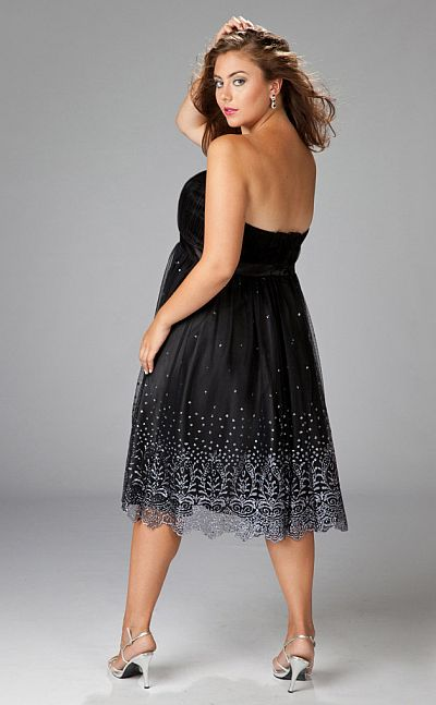 Sydneys Closet Glittering Black Plus Size Cocktail Dress SC8056 ...