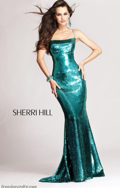 Sherri Hill Long Shimmery Prom Dress With Open Lace Up
