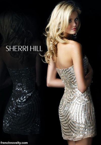 4e5fd876e8a Sherri Hill All Over Beaded Cocktail Dress 2781  French Novelty