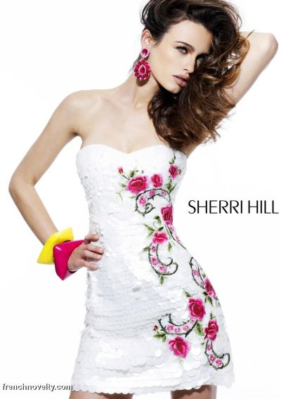 Alternate view of the Sherri Hill Sequin Floral Design Short Prom Dress 2783