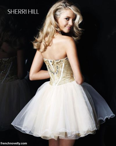2012 Prom Dresses Sherri Hill Ivory Gold Short Prom Dress 2788 ...