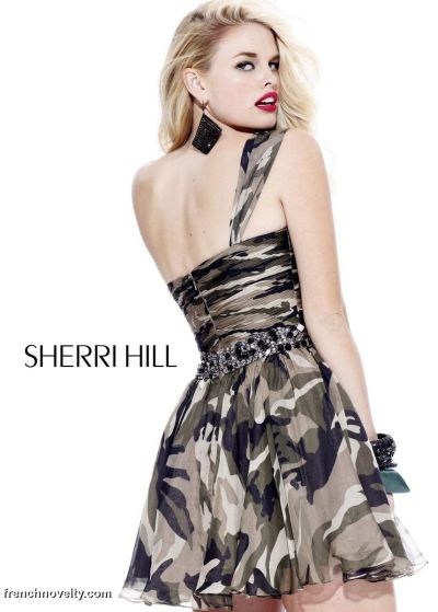 Sherri Hill Camo Print Short Prom Party Dress 2905: French Novelty