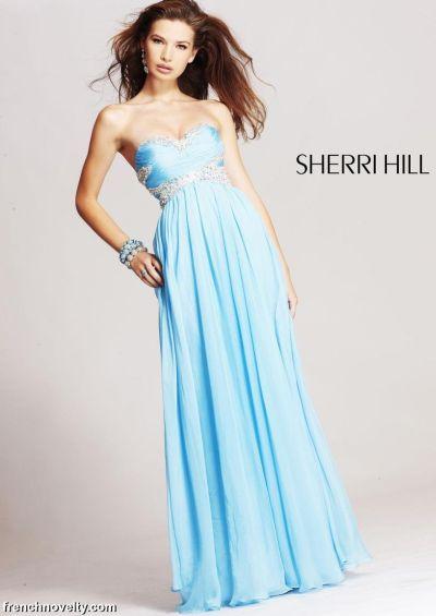Light Blue Long Prom Dresses