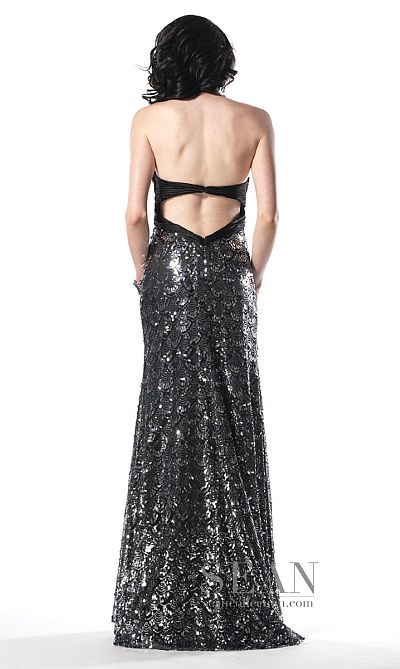 67fe89ef91d Sean Collection Silver and Black Strapless Prom Dress 50430  French ...