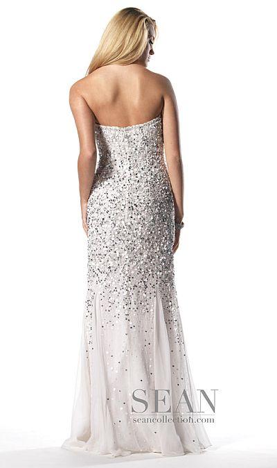 Sean Collection White Silver Silk Sequin Prom Dress 50448
