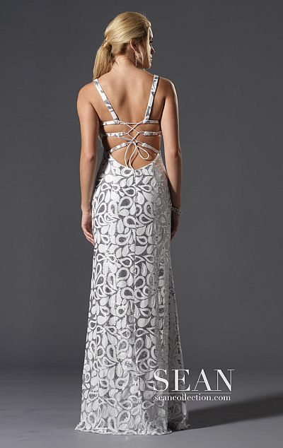 Sean Express White Silver Beaded Tank Prom Dress 90043 French Novelty