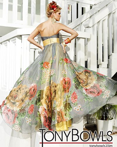 Tony Bowls Evenings Gray Floral Print Dress Tbe11236