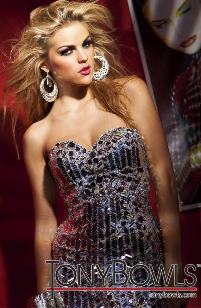 Tony Bowls Shorts Silver Sequin Crystal Cocktail Prom Dress ...