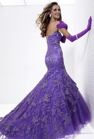 tiffany designs lace and tulle mermaid prom dress 16714