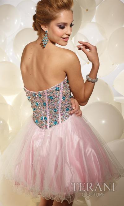 8c64bc4cfa Terani Beaded Short Prom Party Dress P677  French Novelty