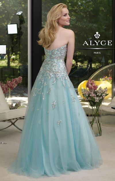 Alyce 6029 Paris Tulle Evening Dress with Sheer Lace Midriff: French ...