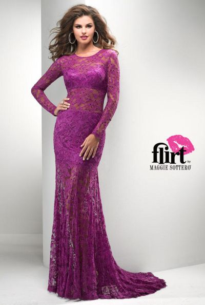 Flirt P2718 Long Sleeve Illusion Lace Evening Gown: French Novelty