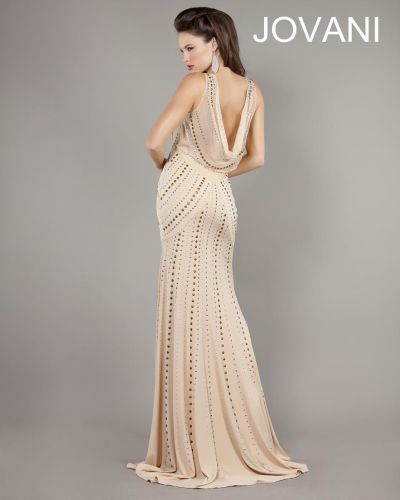 Jovani 2552 Cowl Back Evening Gown French Novelty