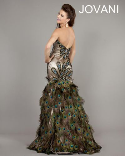 Jovani 2982 Peacock Print Dress With Feathers French Novelty