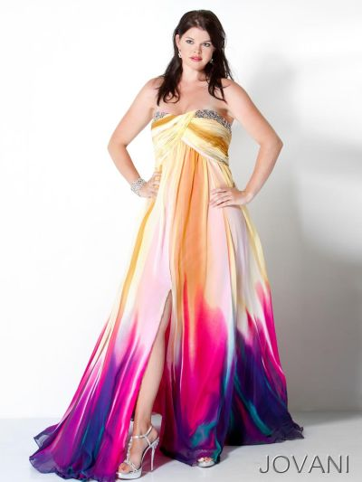 Jovani 3006 Colorful Chiffon Crossover Bust Gown French
