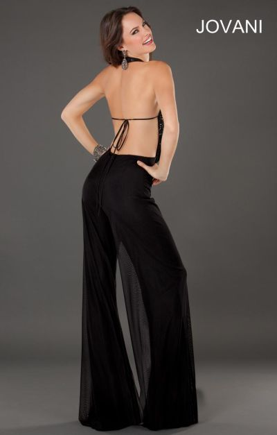 Jovani 74255 Sexy Cowl Neck Formal Pant Suit French Novelty