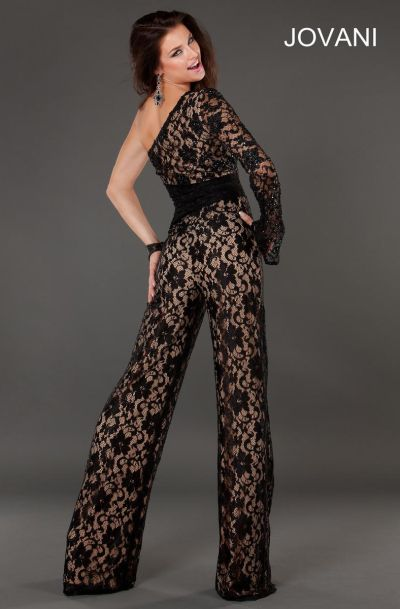 31ea66f0e771 Jovani one long sleeve sheer lace jumpsuit french novelty jpg 400x609 Jovani  black long sleeved jumpsuit