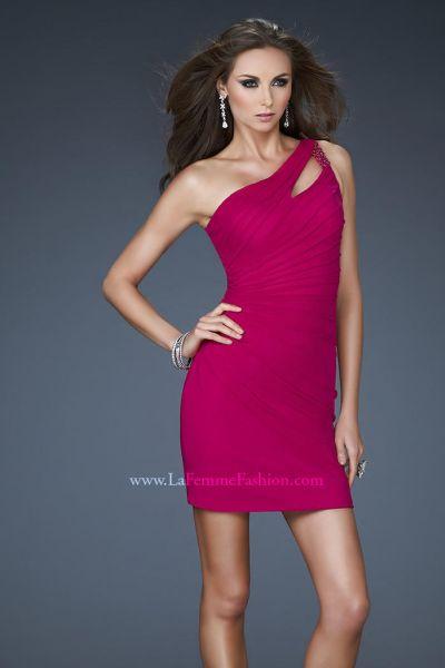 La Femme Short 16958 One Shoulder Dress French Novelty