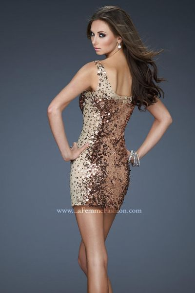 La Femme Short 18242 Tank Dress with Sheer Illusion and Sequins ...