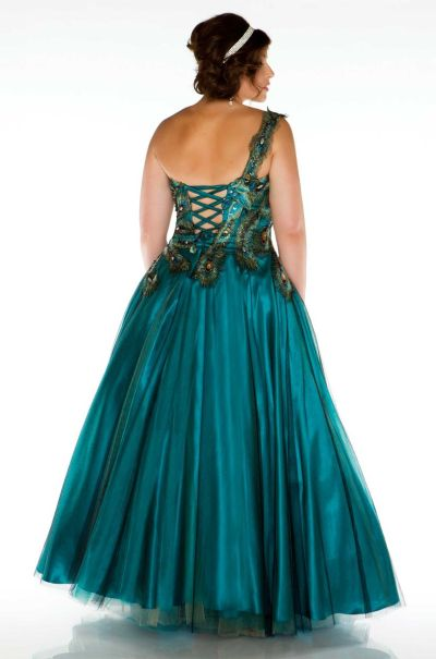 Fabulouss 42833F by Mac Duggal Plus Size Peacock Gown: French Novelty