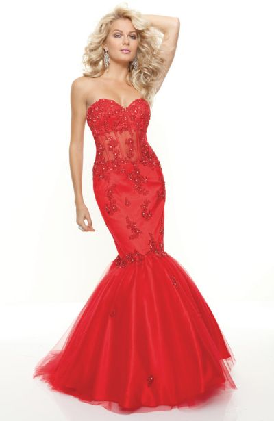 Red Dress Mori Lee Mermaid