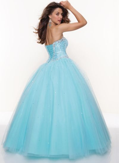 Mori Lee 93042 Paparazzi Beaded Tulle Ball Gown: French Novelty