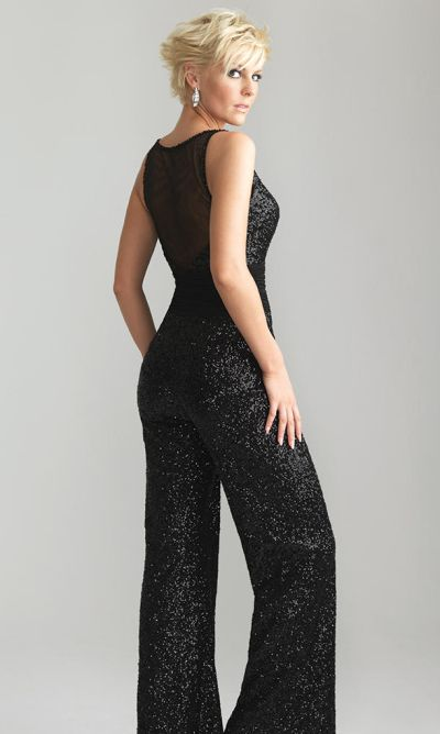 Night Moves 6656 Allover Sequin Pant Jumpsuit With