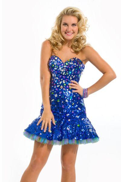 Party Time 6042 Sequin Drop Waist Short Party Dress