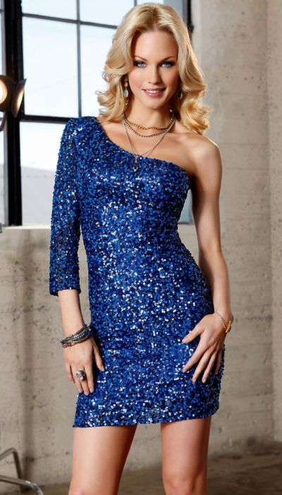 Scala Homecoming One Sleeve Sequin Cocktail Dress 47485: French ...