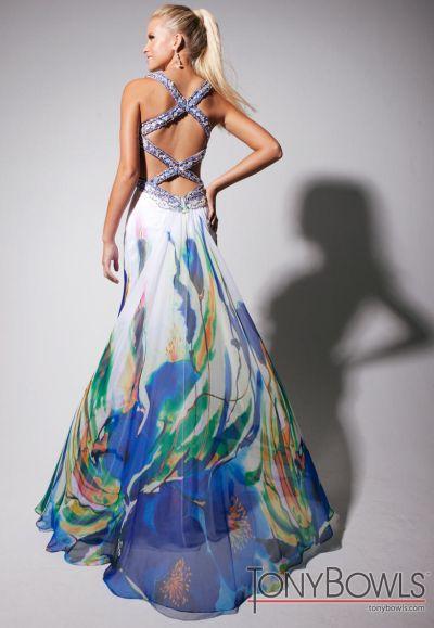 Tony Bowls Evenings Chiffon Print Formal Dress TBE11321: French ...