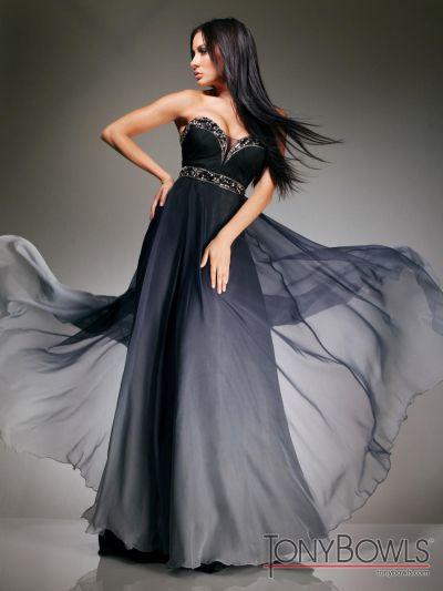 tony bowls evenings black ombre silk chiffon formal dress