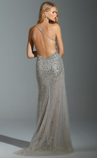 cef63016cfd Terani P1647 Sheer Illusion Evening Dress with Crystals  French Novelty