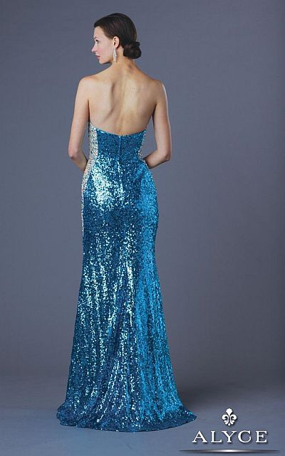 Alyce 6211 Turquoise Sequin Long Dress: French Novelty