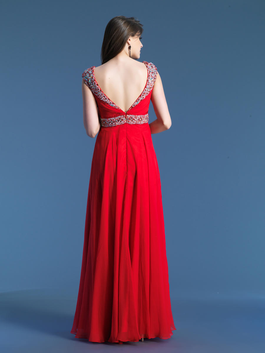 Dave and Johnny 8671 Beaded Cap Sleeve Gown: French Novelty