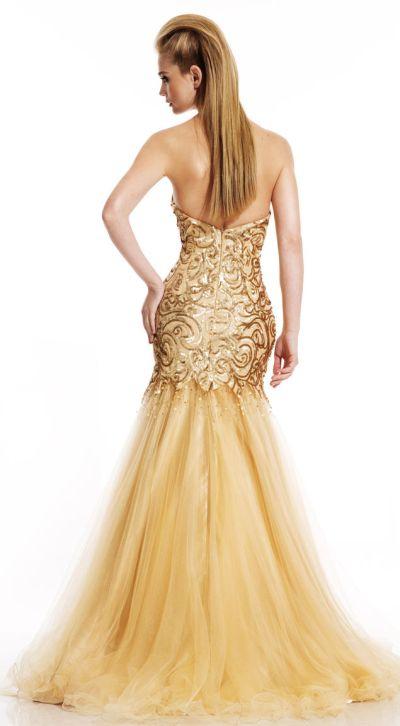 Johnathan Kayne 448 Gold Sequin Mermaid Dress: French Novelty
