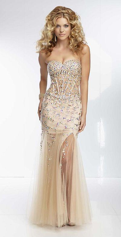 Mori Lee Paparazzi 95092 Sheer Corset Long Dress: French Novelty