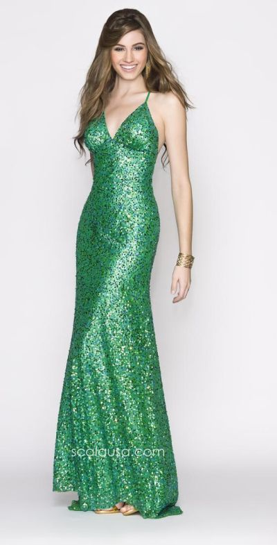 Scala 47646 Sequin Gown with Spaghetti Straps: French Novelty