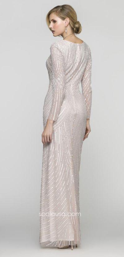 94acd5cf79 Scala 48312 Long Sleeve Deep V Neck Sequin Formal Dress  French Novelty
