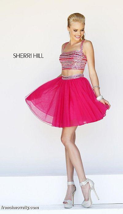 Orange Short Sherri Hill Prom Dresses