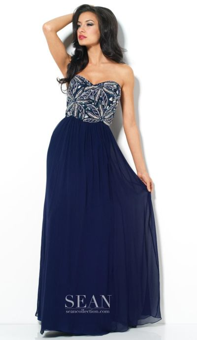 Sean Collection 50568 Beaded Silk Evening Dress French
