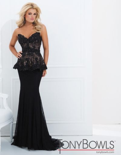 Tony Bowls Evenings Tbe11454 Lace Peplum Formal Dress French Novelty