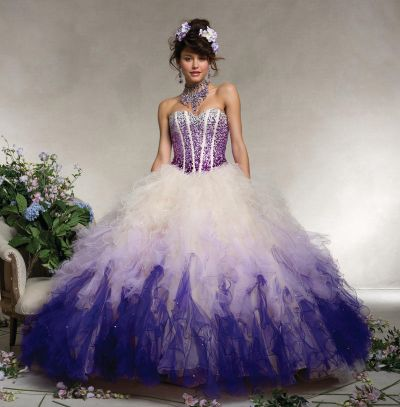 Vizcaya 88078 Ombre Ruffle Quinceanera Dress: French Novelty