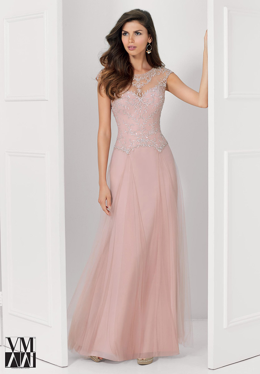 VM Collection 71124 Beaded Lace Satin Gown | Chiffon