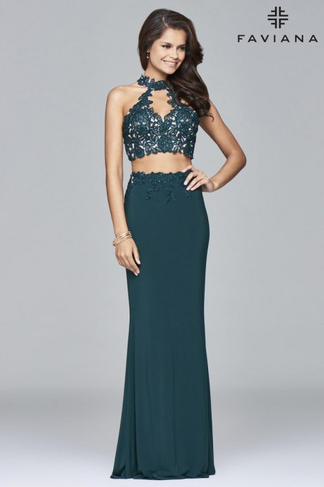 Size 14 Evergreen Faviana 7967 Alluring 2pc Prom Dress French Novelty