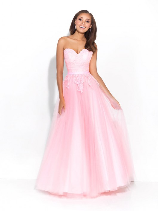 Size 0 Pink Madison James 17-217 Tulle Ballgown with Lace: French ...