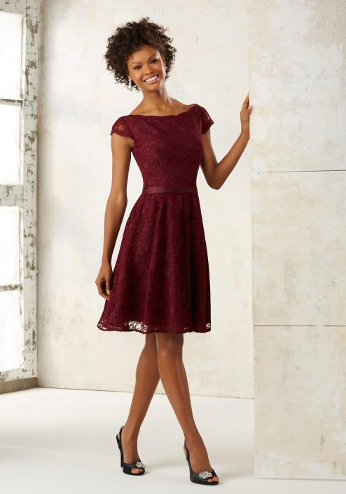 8678fd3493c7b Size 10 Bordeaux Morilee 21518 Short Lace Bridesmaid Dress: French Novelty